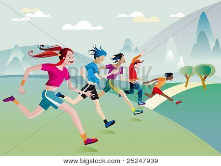 Boys And Girls Running Across Field