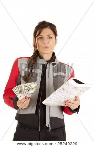 Woman Biker With  Money