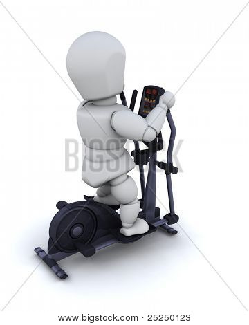 3D render of a man on a crosstrainer