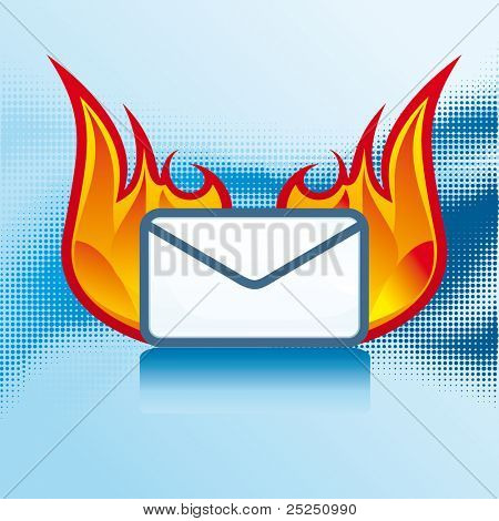 Vector Mail icons with hot fire
