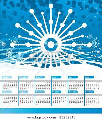 Calendar 2012 with big snowflake