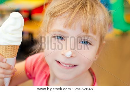 children girl happy with cone ice cream smiling