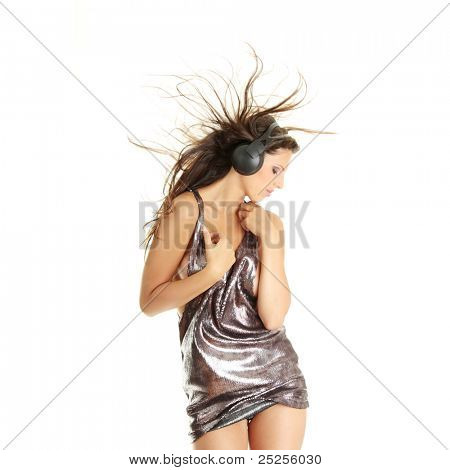 Sexy dancer, isolated on white background
