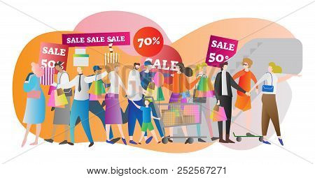 Shopping Mall Crowd Vector Illustration