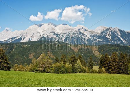 Mountain Ladscape With Blue Sky Above