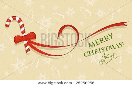 Sweet with red bow, Christmas card