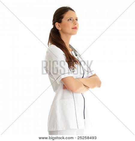Female doctor looking upper left corner