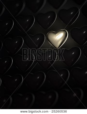 Shiny Golden Heart Surrounded By Dark Hearts
