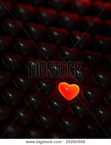 Glowing Red-glass Heart Surrounded By Dark Hearts