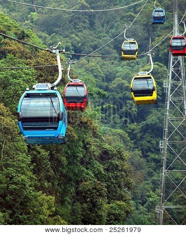 Cable Car Cabins On A Mountain