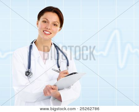 Medical doctor woman writing. Health care. Over blue background.
