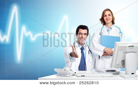 Group of medical doctors over blue background. Health care.