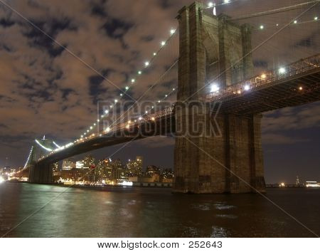 View Of Brooklyn Bridge At Night