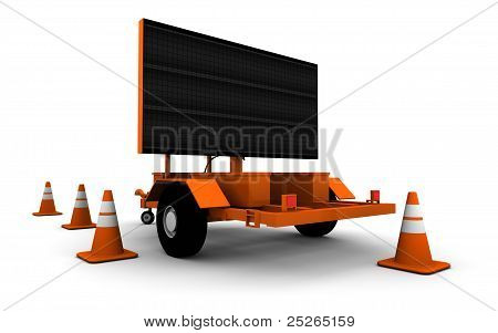 Road Construction Sign - Blank - 3D Illustration