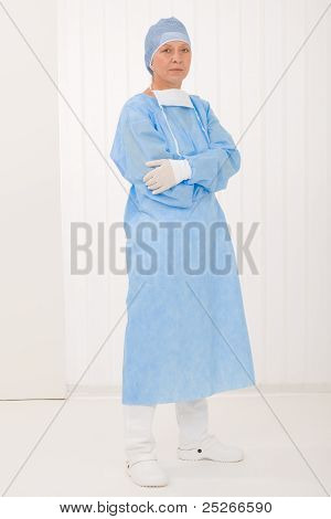 Senior Surgeon Female With Operation Clothes Mask