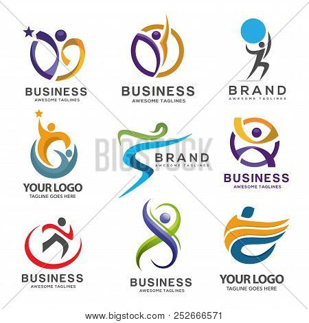 poster of Simple Modern Abstract Fitness Logo Set, Abstract Active Sport Logo,elegant Abstract Active People L