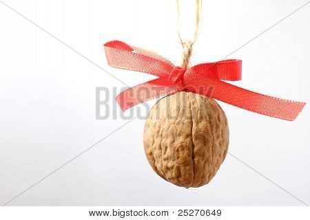 Walnut with red bow-knot as christmass tree decoration
