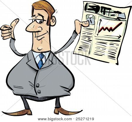 Satisfied Businessman With Newspaper