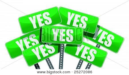 green yes signs illustration design on white background