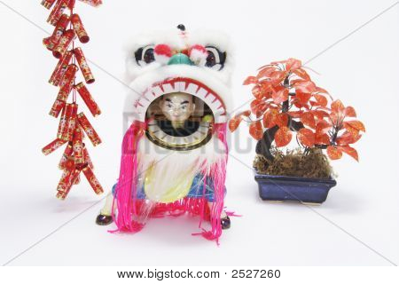 Miniature Lion Dance And Firecrackers