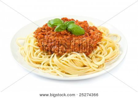 Spaghetti bolognese on white
