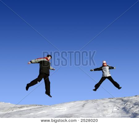 Jumping Girls In Winter
