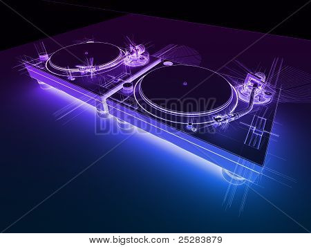Dj Turntables 3D Neon Sketch