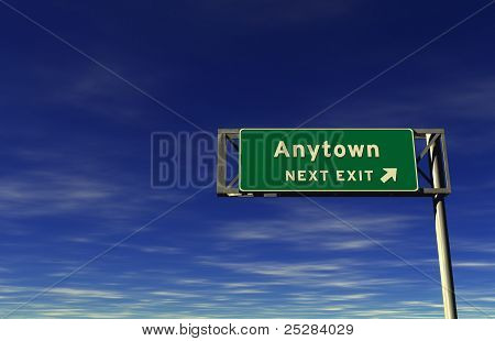Anytown Freeway Exit Sign