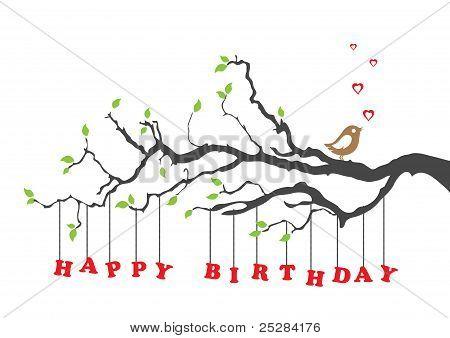 Happy Birthday Card With Bird