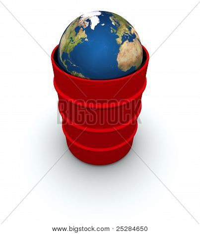 Earth In A Red Trash Can