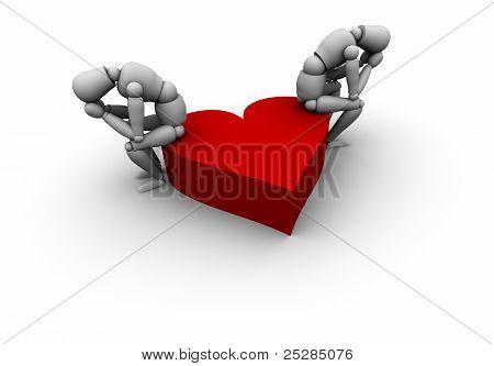 Sad People Sitting On Heart