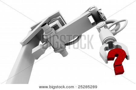 Question Mark In Grip Of Robot Arm