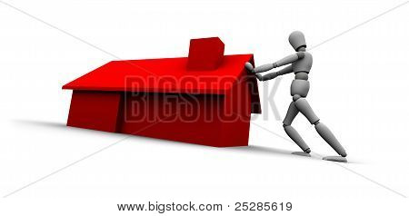 Person Pushing Red House