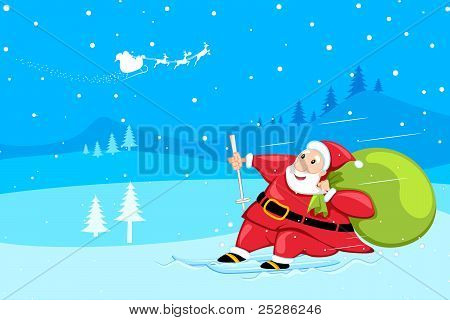 santa claus sking in snow