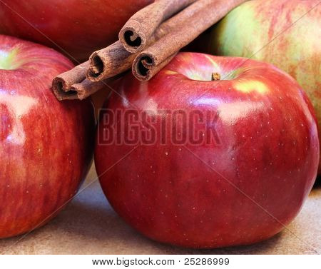 Cortland Apples And Cinnamon Sticks