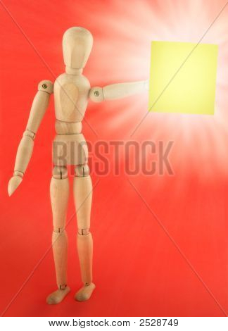 Wooden Figure With Empty Note