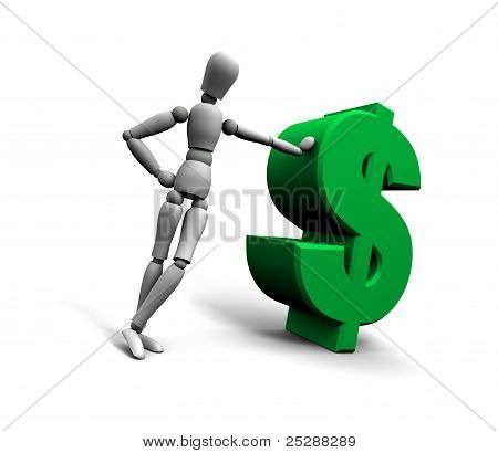Person Leaning Against Green $ Dollar Symbol