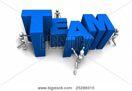 People Pushing Together Team Blue