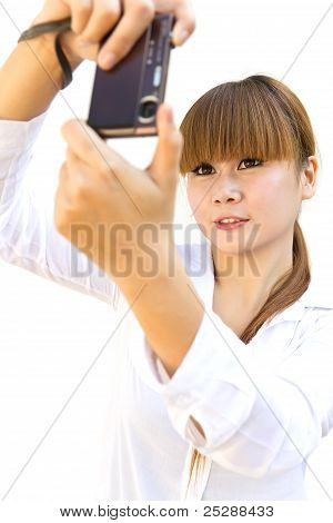 Happy Young Woman With The Camera