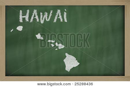 Outline Map Of Hawai On Blackboard