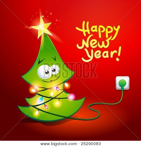 Funny Christmas Tree Wrapped By A Glowing Garland. Vector Illustration.