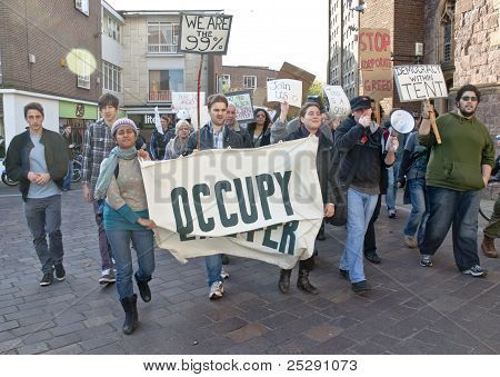 Occupy Exeter Supporters And Participants Arrive At The Occupy Exeter Site Of Exeter Cathedral