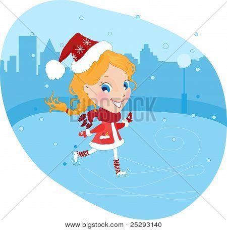 Little girl on the skates in christmas costume
