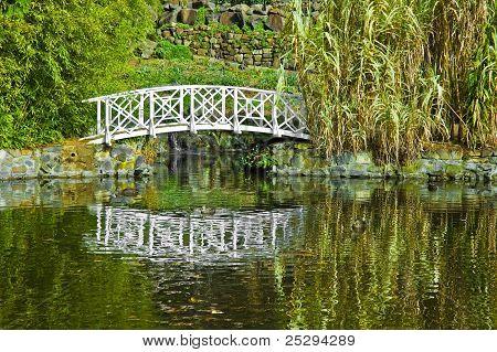 Ornamental Bridge Over A Garden Pond