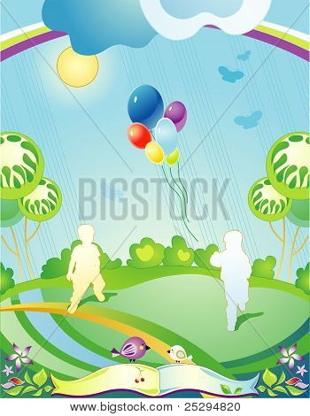Landscape With Silhouettes Of Running Children And Departing Balloons