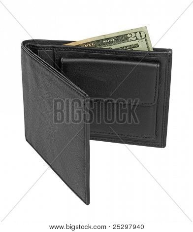 black leather wallet with money isolated on white background