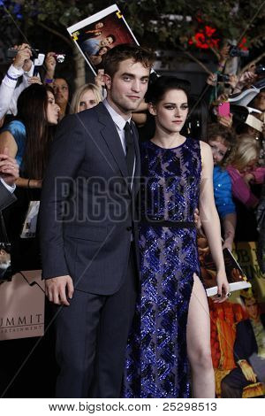 LOS ANGELES - NOV 14: Robert Pattinson, Kristen Stewart at the World Premiere of 'The Twilight Saga: Breaking Dawn Part 1' held at Nokia Theater L.A. Live on November 14, 2011 in Los Angeles, CA