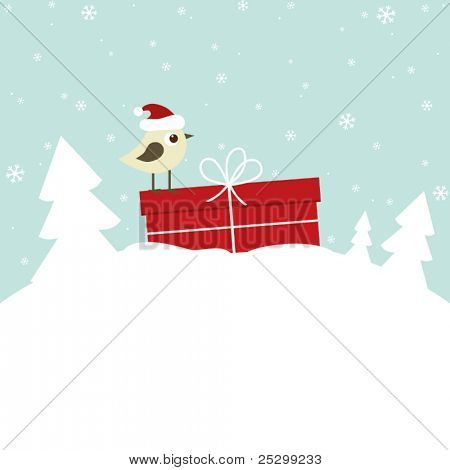 Winter card with bird and gift box