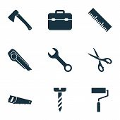 Handtools Icons Set With Wrench, Scissors, Hatchet And Other Shears Elements. Isolated  Illustration poster