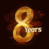 8 Years Golden Anniversary 3d Logo Celebration With Gold Glittering Spiral Star Dust Trail Sparkling poster